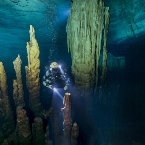Ben's Cavern, with cave diver Cristina Zenato (released).